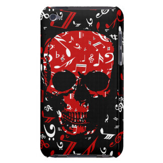 Red Black Musical notes skull Barely There iPod Covers
