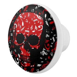 Red Black Musical notes skull Ceramic Knob