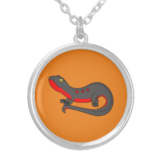 Red & Black Newt with Spots Round Pendant Necklace