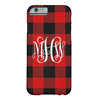 Red Black NL Buffalo Check Plaid 3I Vine Monogram Barely There iPhone 6 Case