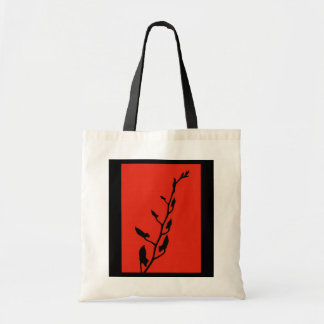 Red & Black Orchid Sillhouette Tote Bags