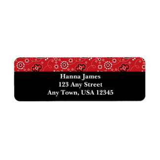 Red Black Paisley Bandana Print Personalized Return Address Label