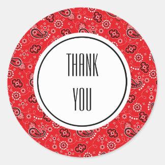 Red Black Paisley Bandanna Print Personalised Classic Round Sticker