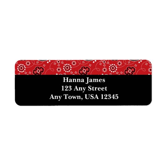 Red Black Paisley Bandanna Print Personalised Return Address Label
