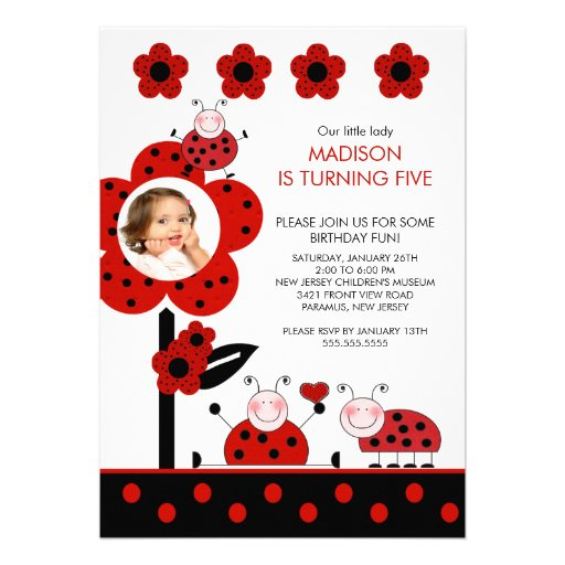 RED & Black PHOTO Ladybug Birthday Invitation