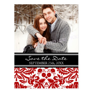 Red Black Photo Save the Date Wedding Postcards