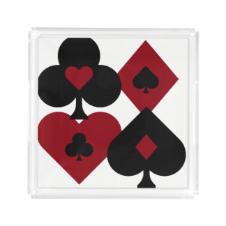 Red & Black Poker Card Deck Suits Acrylic Tray