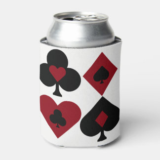 Red & Black Poker Card Deck Suits Can Cooler