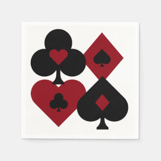 Red & Black Poker Card Deck Suits Disposable Napkins
