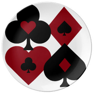 Red & Black Poker Card Deck Suits Plate