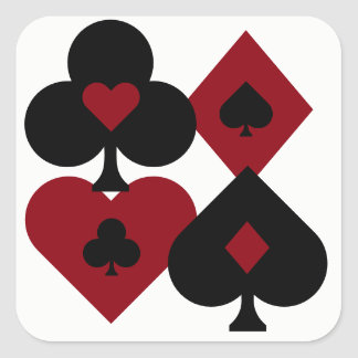 Red & Black Poker Card Deck Suits Square Sticker