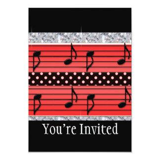 Red & Black Polka Dot Diamonds & Musical Notes 13 Cm X 18 Cm Invitation Card