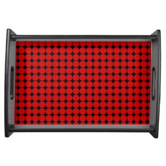 Red black polka dot modern food trays