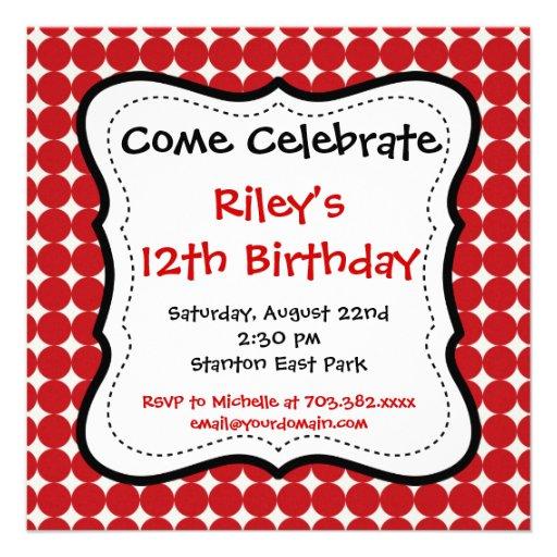 Red Black Polka Dots Birthday Party Invitations