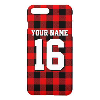 Red Black Preppy Buffalo Plaid Team Jersey iPhone 7 Plus Case
