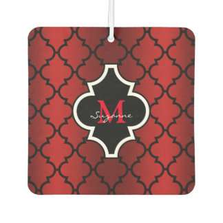 Red Black Quatrefoil Pattern Monogrammed Car Air Freshener