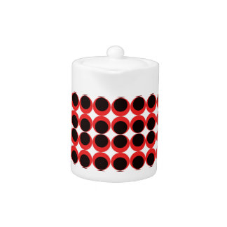 Red/black retro circle pattern teapot
