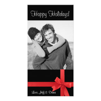 red black ribbon christmas photocard picture card