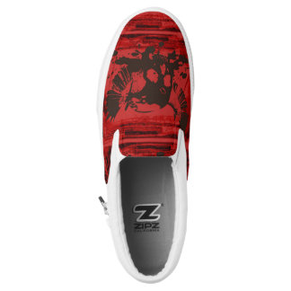 Red Black Scull Wings Brush Goth Slip On Sneakers
