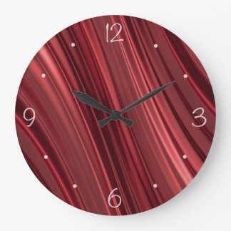 Red black shaded stripes large clock