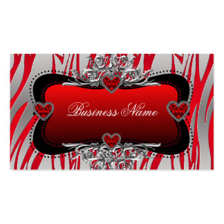 Red Black Silver Diamond Hearts Zebra Business Pack Of Standard Business Cards