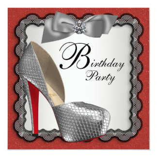 "Red Black & Silver High Heel Shoe Birthday Party 5.25"" Square Invitation Card"