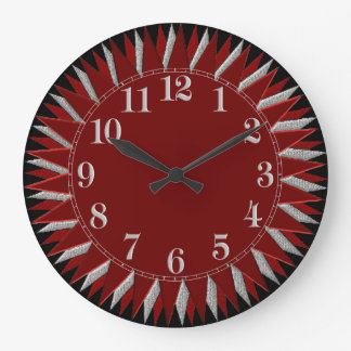Red Black Silver Sun Wall Clock