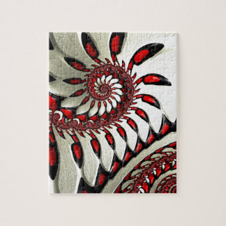 Red & Black Spiral Fractal Jigsaw Puzzle