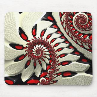 Red & Black Spiral Fractal Mouse Pad