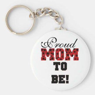 Red/Black Star Text Proud Mom to Be Basic Round Button Key Ring