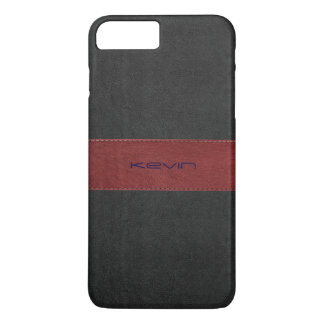 Red & Black Stitched Vintage Leather iPhone 8 Plus/7 Plus Case