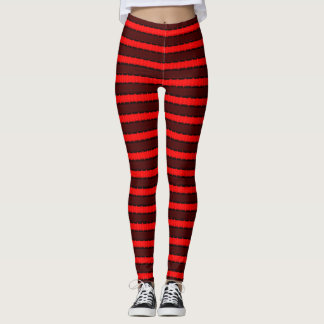 Red & Black Stripes Leggings