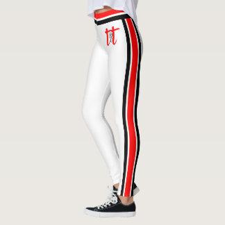 Red/Black Stripes on White Leggings