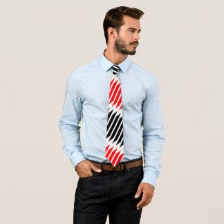 Red Black Stripes on White Tie