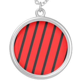 Red & Black Stripes Round Pendant Necklace