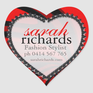 Red Black Stylish Bold Heart Stickers