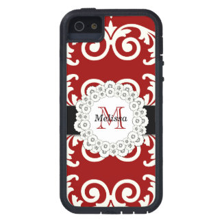 Red Black Swirls Damask, Your Name iPhone 5 Covers