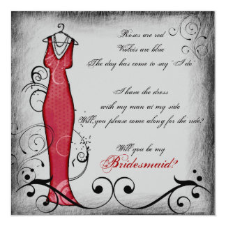 Red black swirls rhyming bridesmaid cards 13 cm x 13 cm square invitation card