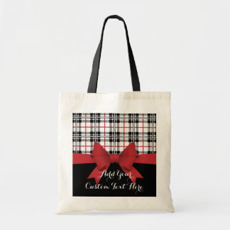 Red Black Tartan Plaid and Ribbon Cute Kids Custom