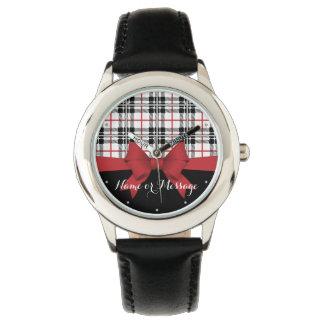 Red Black Tartan Plaid and Ribbon Cute Kids Custom Watch