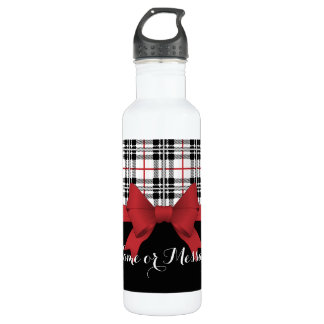 Red Black Tartan Plaid and Ribbon Cute Kids Name 710 Ml Water Bottle