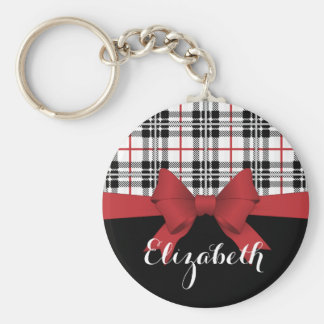 Red Black Tartan Plaid and Ribbon Cute Kids Name Basic Round Button Key Ring