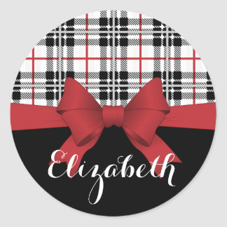 Red Black Tartan Plaid and Ribbon Cute Kids Name Classic Round Sticker