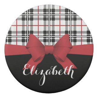 Red Black Tartan Plaid and Ribbon Cute Kids Name Eraser