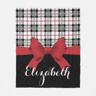 Red Black Tartan Plaid and Ribbon Cute Kids Name Fleece Blanket