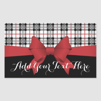 Red Black Tartan Plaid and Ribbon Cute Kids Name Rectangular Sticker