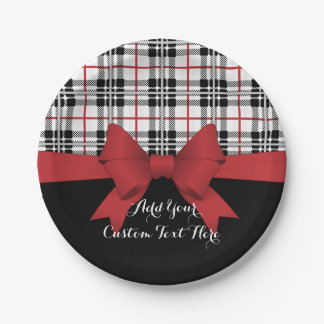 Red Black Tartan Plaid and Ribbon Cute Kids Party Paper Plate