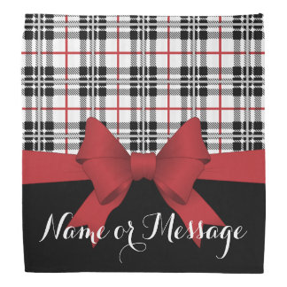 Red Black Tartan Plaid and Ribbon Girly Cute Name Bandana