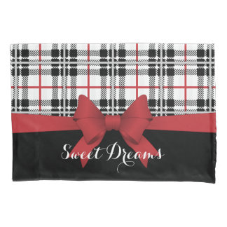 Red Black Tartan Plaid and Ribbon Girly Cute Pillowcase