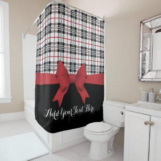 Red Black Tartan Plaid and Ribbon Girly Cute Shower Curtain